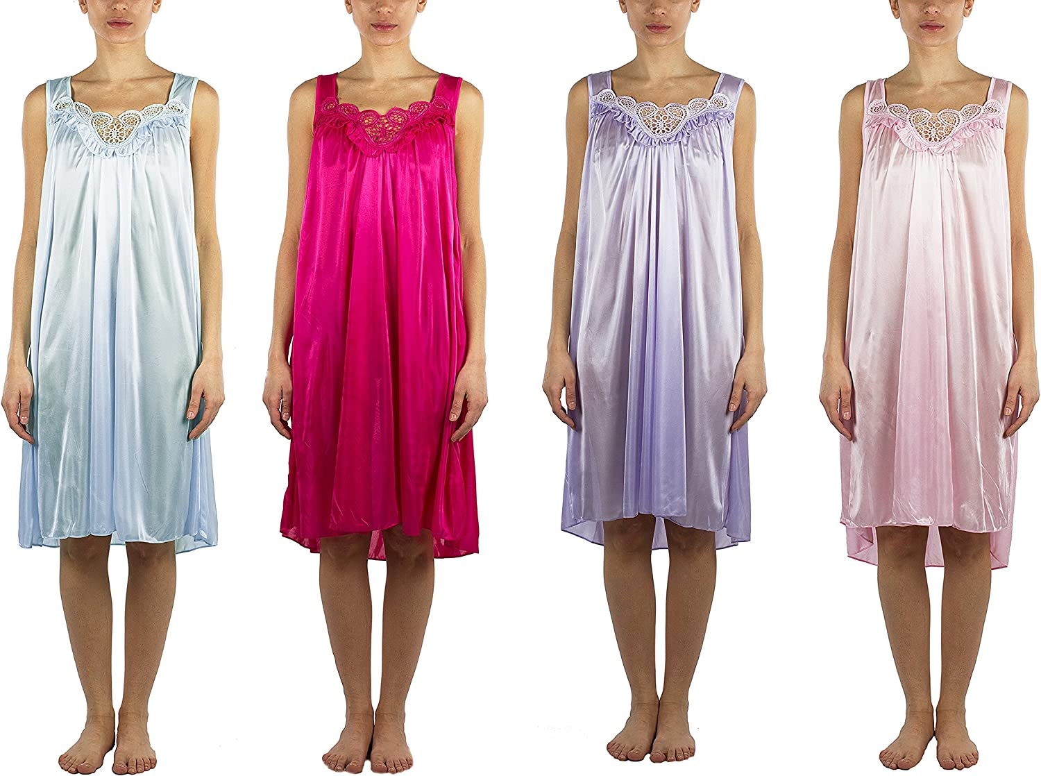 JOTW 4 Pack of Silky Lace Accent Sheer Nightgowns  Medium to 4X Available (9006)