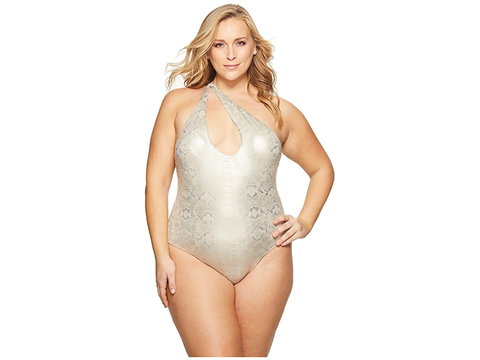 Sports Illustrated Plus Size Viper Asymmetric Slashed One Shoulder One-Piece (Nude) Women