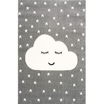 Livone Tapis pour Chambre denfant Motif Nuage et /étoiles Blanc Menthe Menthe 100 x 150 cm