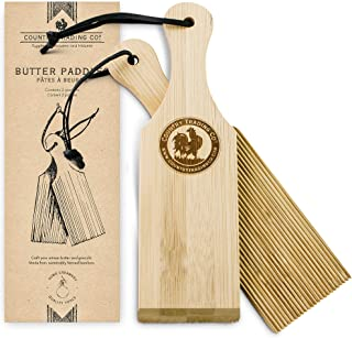 Butter Paddles and Gnocchi Board - Set of 2 Sustainable Wooden Makers to Mold and Press Homemade Butter and Make Grooved Gnocchi Cavatelli and Garganelli - Plastic Free Tools