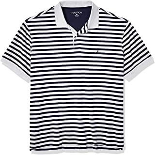 Nautica mens Classic Fit Short Sleeve 100% Cotton Stripe Soft Polo Shirt Polo Shirt