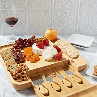 Bamboo Cheese Board- Cutlery Set Included- Pull Out Drawers- 100% Natural Bamboo- Ultimate Cheese And Meat Board- Precise Craftsmanship- Entertaining Gift- Meat Serving Tray