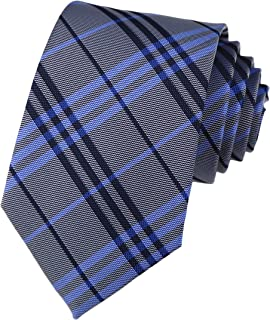 Secdtie Men's Classic Checks Silver Jacquard Woven Silk Tie Formal Necktie