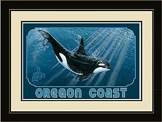 "Northwest Art Mall BA-4022 LFGDM Oregon Coast Orca Framed Wall Art, 20"" x 26"""