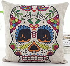 L&J.ART® 18'' Retro Vintage Floral Sugar Skull Linen Throw Pillow Case Cushion Cover NS24