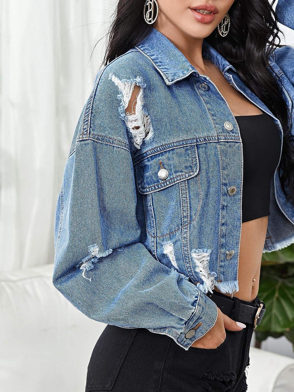 SOLY HUX Women's Puff Long Sleeve Raw Hem Button Down Crop Denim Jacket