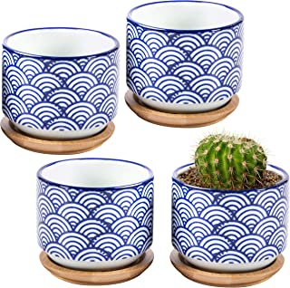 3-inch Japanese Style Wave White and Blue Ceramic Succulent Planter Pots with Bamboo Drip Tray, Set of 4