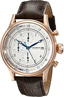 Men's Chronograph Watch - 3 Subdials with Date Window On Crocodile Pattern Leather Strap - AK798