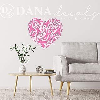 CLIFFBENNETT Pink Ribbon Breast Cancer Awareness Support Heart Pattern - Removable Vinyl Decal