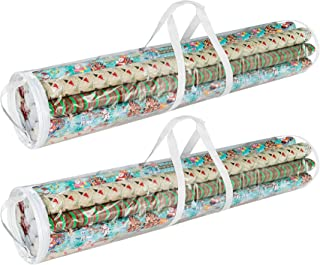 Elf Stor 83-DT5054 Gift Wrap Storage Bags Holds 40-Inch Rolls of Paper-2 Pack, Clear
