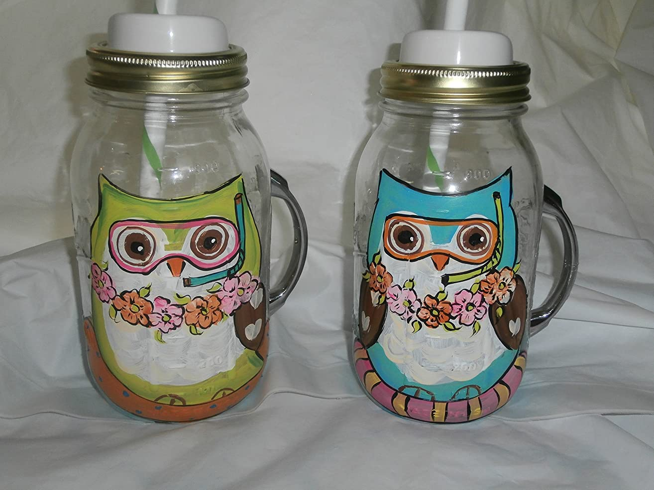 Hand painted Beach tubing summer owls. handled quart mugs with lid and straws. set of 2.