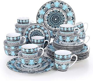 VEWEET, série Audrie, Service de Table Complet en Porcelaine, 32 pièces pour 8 Personnes, Style Marocain