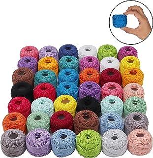 Kurtzy Häkelgarn aus Baumwolle 42 Stück - 5 Gramm, 74 Meter Häkelfaden mit Häkelnadeln - Baumwollgarn zum Häkeln - Baumwollfaden für Muster, Projekte und Applikationen Sortiment an Farben