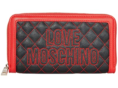 LOVE Moschino Stitched Love Wallet (Black PU/Red PU) Handbags
