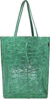 SKUTARI® LEDER VITTORIA Croco-Look | Damen Shopper | Schlangenleder-Optik | Handtasche | Schultertasche | eingenähter Inne...