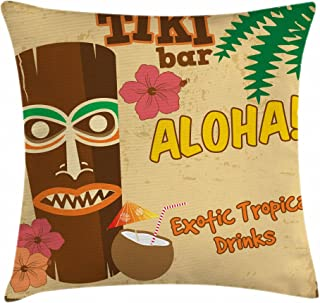 Ambesonne Tiki Bar Throw Pillow Cushion Cover, Polynesian with Tropical Drink Retro Typography and Flora Old Aged Design, Decorative Square Accent Pillow Case, 20