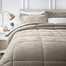 AmazonBasics Ultra-Soft Micromink Sherpa Comforter Bed Set - Full or Queen, Taupe