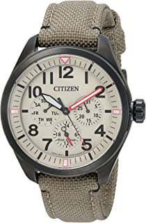 Men's 'Military' Quartz Stainless Steel and Nylon Casual Watch, Color:Green (Model: BU2055-08X)