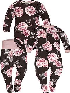 Sibinulo Jungen Mädchen Body Strampler  Schlafstrampler  Hose mit Füßen Babykleidung Set Größen 0 bis 6 Monate, 3er Pack Rosen Mischen