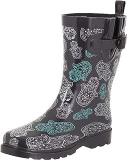 Shiny Floral Printed Mid-Calf Rain Boot
