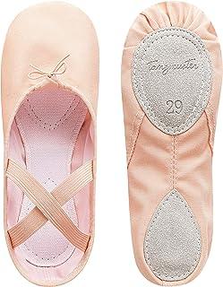 tanzmuster Ballettschuhe Mädchen Ballettschläppchen - Charlie - Geteilte Ledersohle Größe 22-45, weich und atmungsaktiv