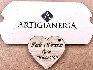 Artigianeria - Set di n°10 (o più) pezzi. Cuore in legno personalizzato con scritta in corsivo. Ideale come bomboniera o s...