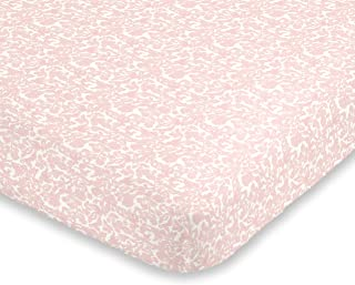 ED Ellen DeGeneres Painterly Floral - Soft 100% Cotton Pink & White Floral Fitted Crib Sheet, Pink, White