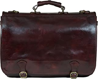 I Medici Cartellone Indy Italian Leather Briefcase, Messenger Bag in Dark Brown