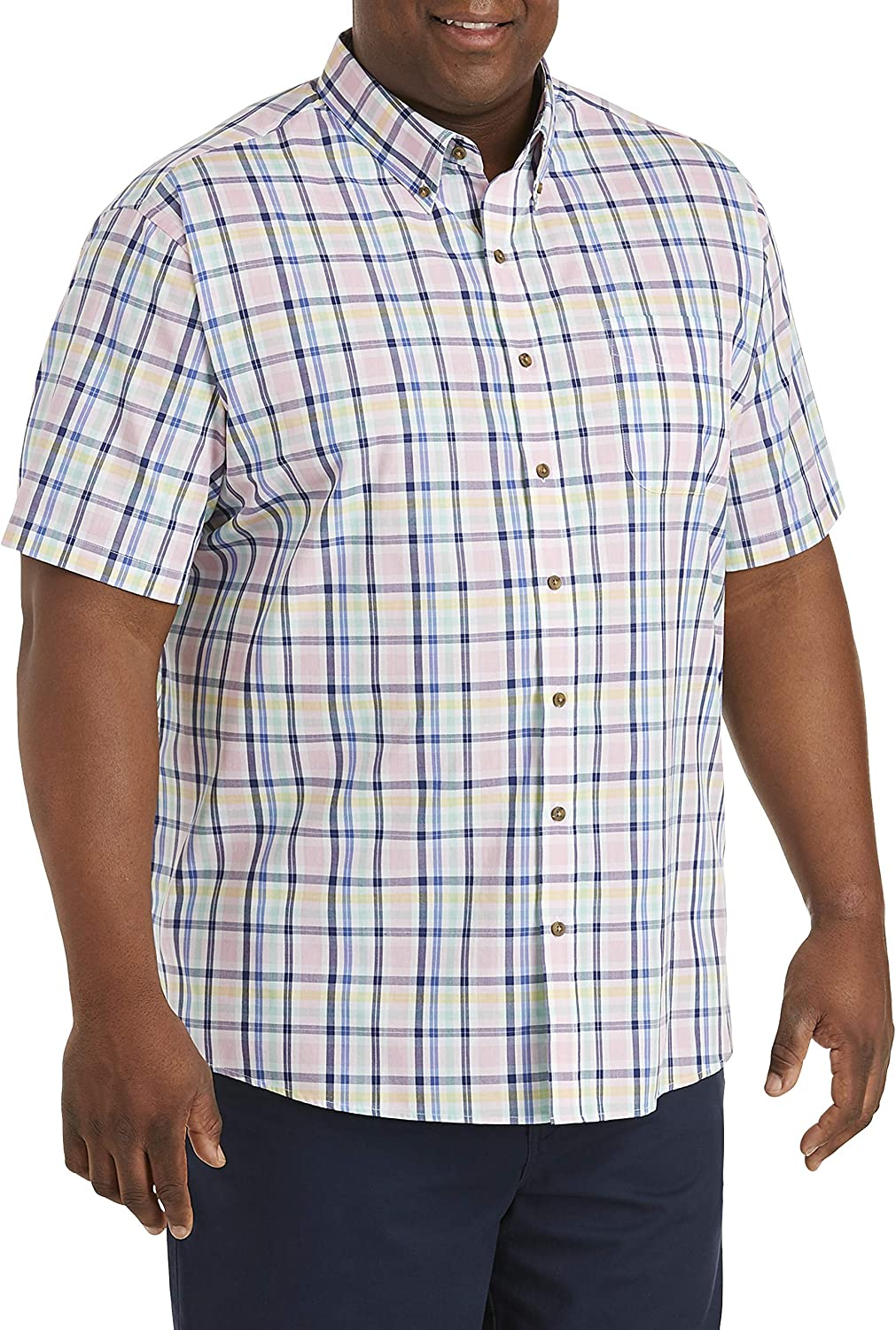 Harbor Bay by DXL Big and Tall Easy-Care Multi Large Plaid Sport Shirt, Pink