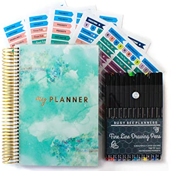 Productivity Planner - Goals & Gratitude Planner with Bonus Pens, Stickers, and Sticker Tabs (Undated) - Busy Bee Planners