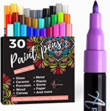 Acrylic Paint Pens for Rock, Stone, Ceramic, Glass, Mugs, Wood, Metal, Fabric, Canvas (30 Pack) 28 Assorted Colors + Extra...
