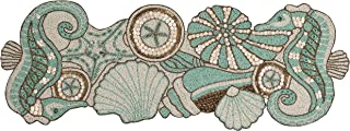 Handcrafted Coastal Theme Sea Shells Beaded Table Runner Beach Nautical Decor Tabletop..
