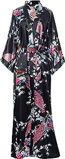Women's Kimono Robe Long Robes with Peacock and Blossoms Printed 1920s Kimono Nightgown
