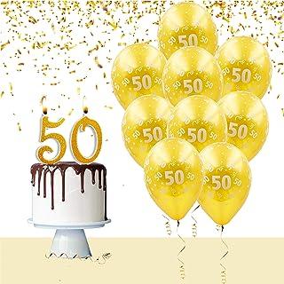 Kit de globos y velas para tarta para fiesta de cumpleaños, aniversario de boda, 50 años, decoración de mesa, decoración de cumpleaños, aniversario, boda, 50 años
