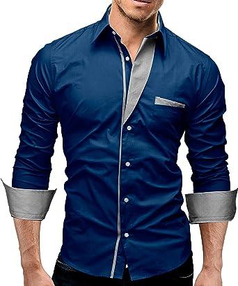 MERISH Camisas Hombre Modernas Slim Fit Contrastes de Color Modell 02