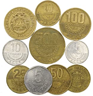 10 Old Coins from Republic of Costa Rica in Central America. Collectible Coins Costa Rican colón. Perfect Choice for Your Coin Bank, Coin Holders and Coin Album