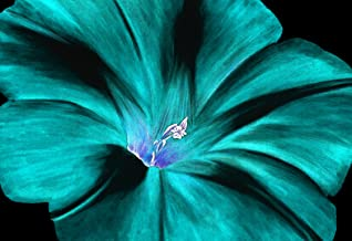 LARGE FLORAL CANVAS ART TURQUOISE FLOWER PAINTING 30 X 20 INCHES READY TO HANG