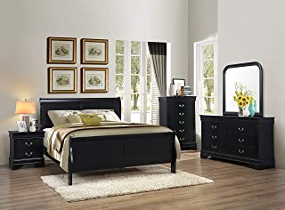 GTU Furniture 5pc Queen Size Sleigh Bedroom Set Louis Philippe Style in Black Finish (Black)