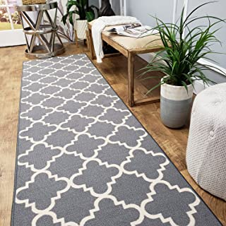 Runner Rug 2x5 Gray Trellis Kitchen Rugs and mats | Rubber Backed Non Skid Rug Living Room Bathroom Nursery Home Decor Under Door Entryway Floor Non Slip Washable | Made in Europe