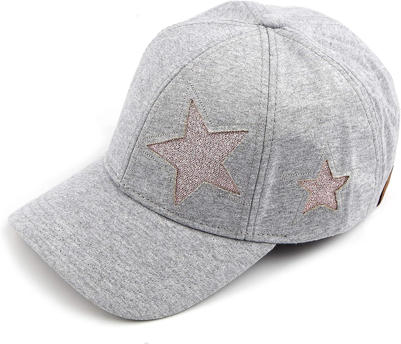 C.C Hatsandscarf Cotton Baseball Cap with Sparkling Star Pattern (BA-42)