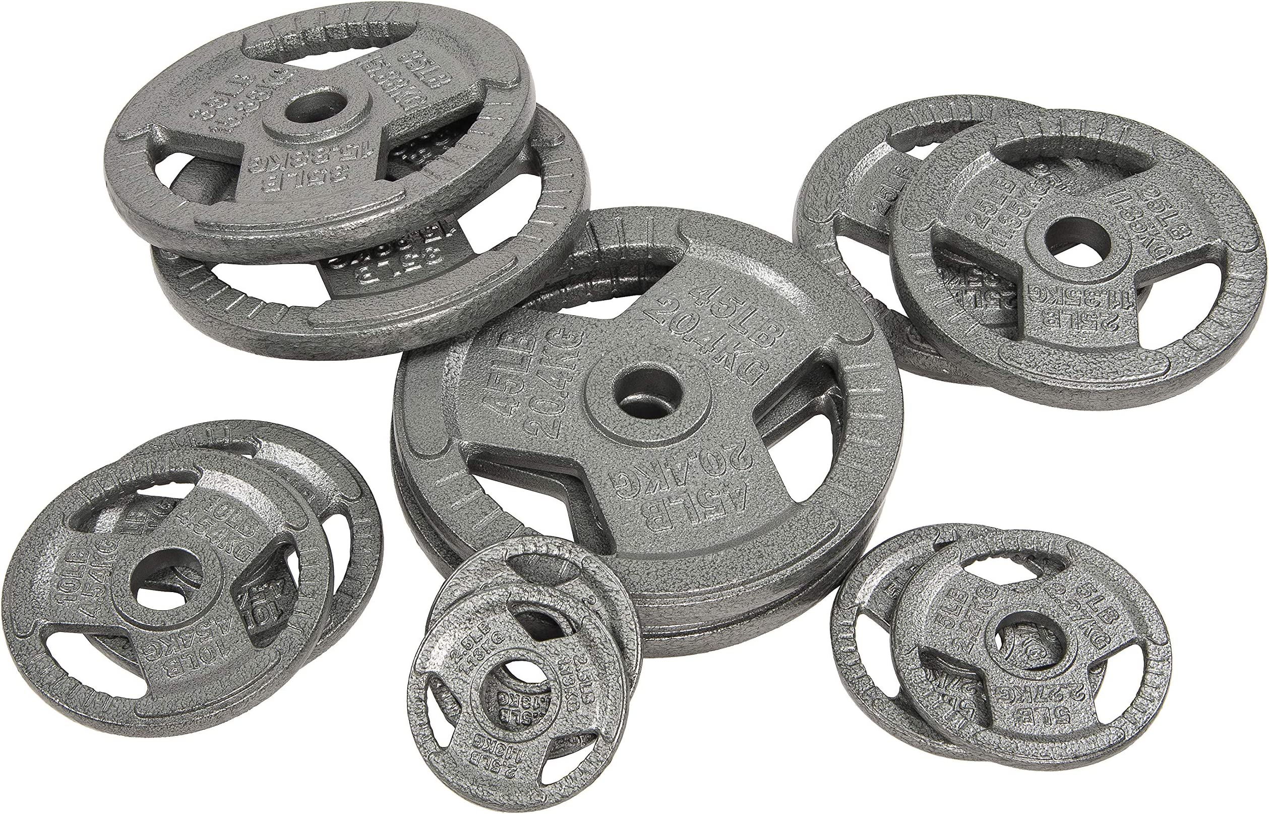 Sporzon! Cast Iron 1-Inch or 2-Inch Grip Plate Weight Plate for Strength Training, Weightlifting and Crossfit, Single