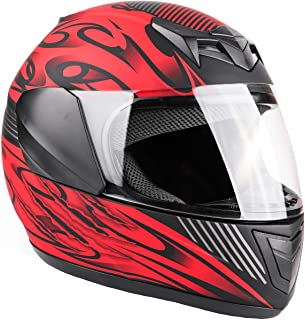 Typhoon Youth Full Face Motorcycle Helmet Kids DOT Street - Ships Same Day - Matte Red (Small)