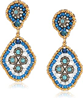 Miguel Ases Small Swarovski Cluster Rhombus Post Drop Earrings, Egyptian Blue