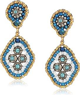 Small Swarovski Cluster Rhombus Post Drop Earrings, Egyptian Blue