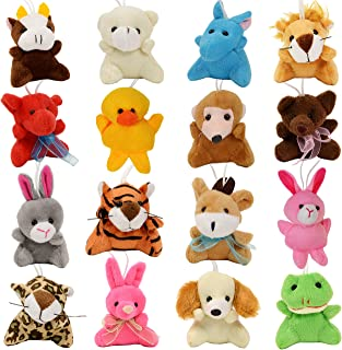 16-Pack Mini Animal Plush Toy Set, Soft Plush Toys for Kids Party Favors, Keychain Ornament,Birthday Party Supplies,Prize Rewards