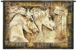 Messengers of Spirit by Annrika McCavitt | Woven Tapestry Wall Art Hanging | Horses Roman Greek Pillars | 100% Cotton USA Size 53x36