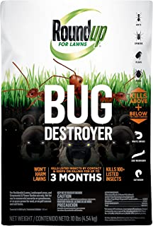 Roundup for Lawns Bug Destroyer Granules, 10 lb. - Kills Ants, Spiders, Fleas, Grubs, Ticks and Other Insects - Kills Above and Below Lawn's Surface - Won't Harm Lawns - Treats up to 2,500 sq. ft.