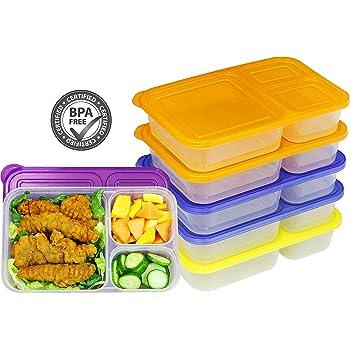 6 Pack - SimpleHouseware Color Reusable 3-Compartment Meal Prep Container Boxes (36 ounces)