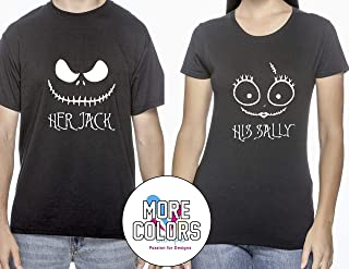 Her Jack/His Sally Nightmare Before Christmas Romantic Couples T-Shirts Matching Shirt T-Shirt Funny Tee Gift for Him Her Halloween