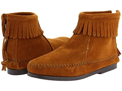 Minnetonka Kids Back Zipper Boot Hardsole (Toddler/Little Kid/Big Kid) (Brown Suede) Girls Shoes